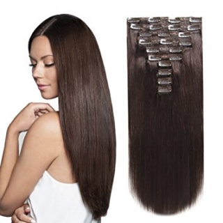 Kit extensions à clips lisses Indien 160 gr 50 cm Remy Hair