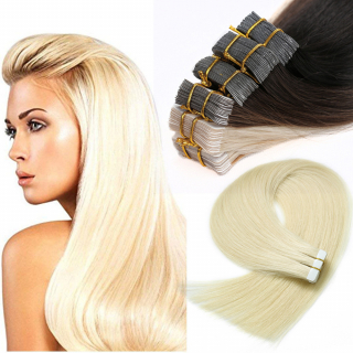 Kit extensions 40 bandes adhésives Virgin Russe 120 gr 50 cm Remy Hair