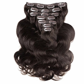 Kit extensions à clips ondulés Virgin Brésilien 160 gr 50 cm Remy Hair