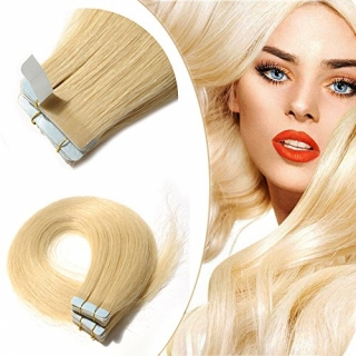Kit extensions 40 bandes adhésives Virgin Indien 120 gr 55 cm Remy Hair