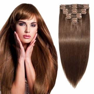 Kit extensions à clips lisses Indien 180 gr 70 cm Remy Hair